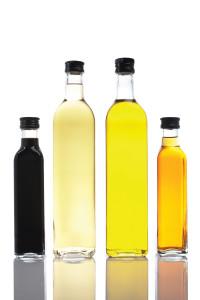 Bottles of olive oil and vinegar